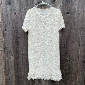 White Lace Shift Dress Size Large